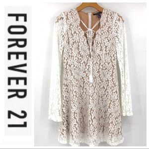 💕SALE💕 Forever 21 Ivory Lace Bell Sleeve Dress